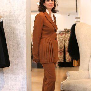 Pink Tartan BNWT Pleated brown blazer jacket sz 4